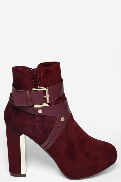 Harness Buckle High Heel Wine Red Ankle Boots-SinglePrice