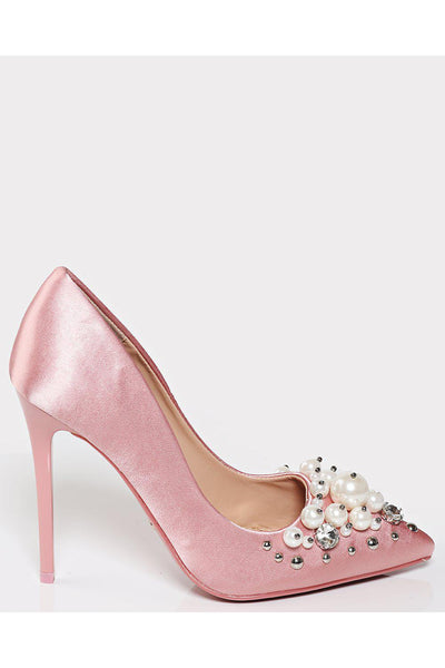 Pearls Embellished Pink Satin Stiletto Heels-SinglePrice