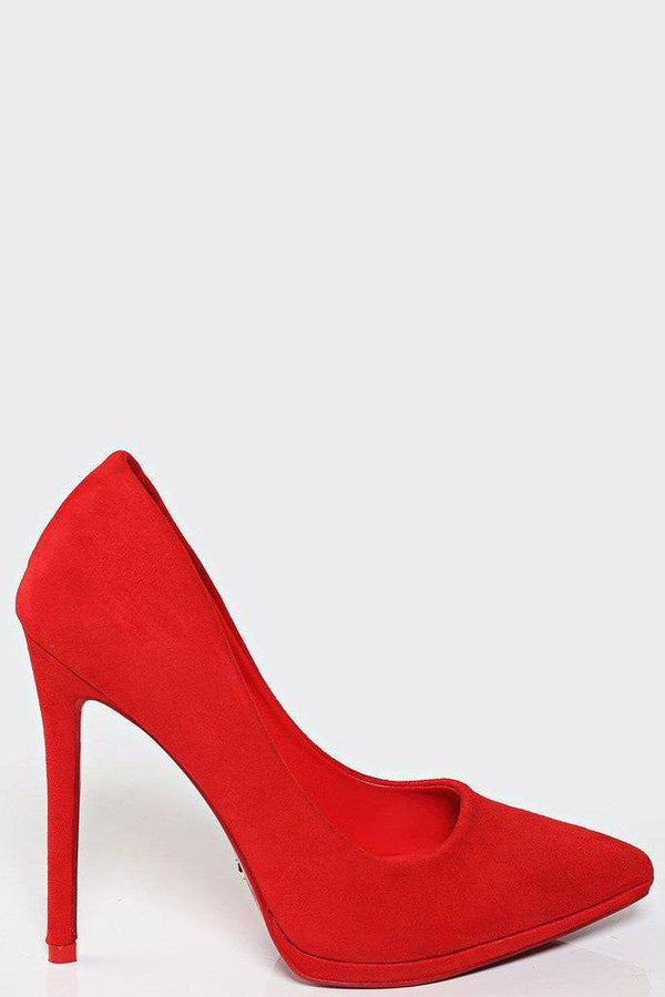 All Red Suede High Heel Pumps-SinglePrice