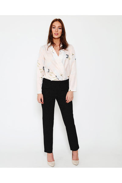 Black Dotted Smart Cigarette Pants-SinglePrice
