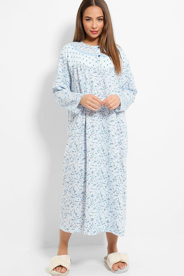 Blue Tiny Hearts And Floral Print Fleece Lined Nightie Dress - SinglePrice