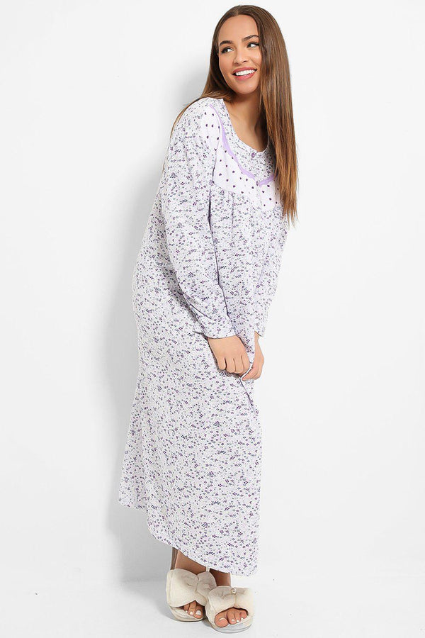 Lilac Tiny Hearts And Floral Print Fleece Lined Nightie Dress - SinglePrice