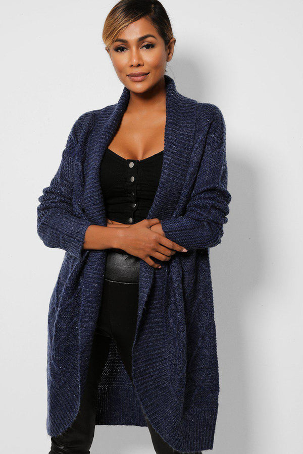 Navy Large Collar Open Front Longline Cardigan