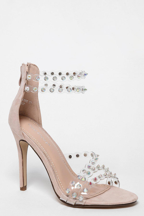 Perspex Straps With Unicorn Spikes Beige Barely There Heels-SinglePrice