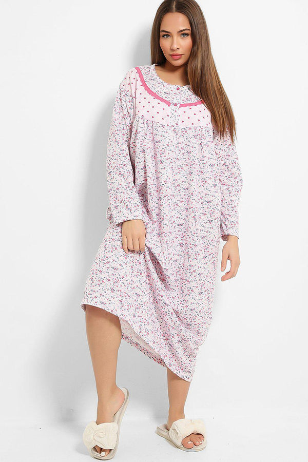 Pink Tiny Hearts And Floral Print Fleece Lined Nightie Dress - SinglePrice