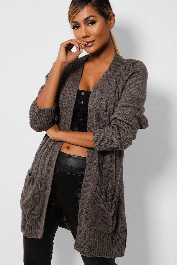 Open Side Pockets Ribbed Grey Cardigan