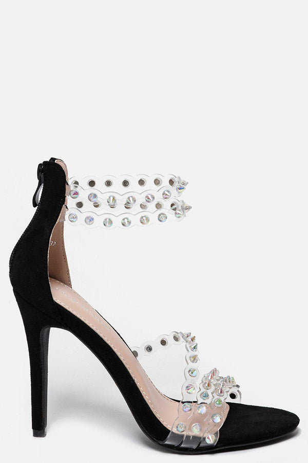 Perspex Straps With Unicorn Spikes Black Barely There Heels-SinglePrice