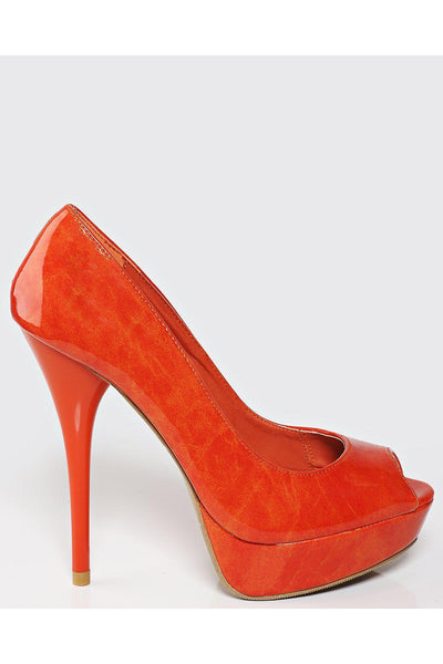 Orange Patent Peep Toe Heels-SinglePrice