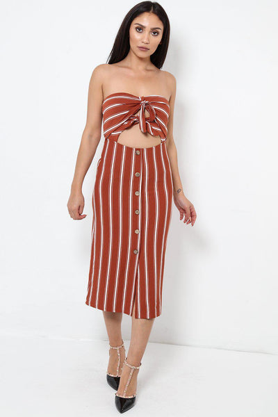 Brown Striped Bandeau Peekaboo Dress-SinglePrice