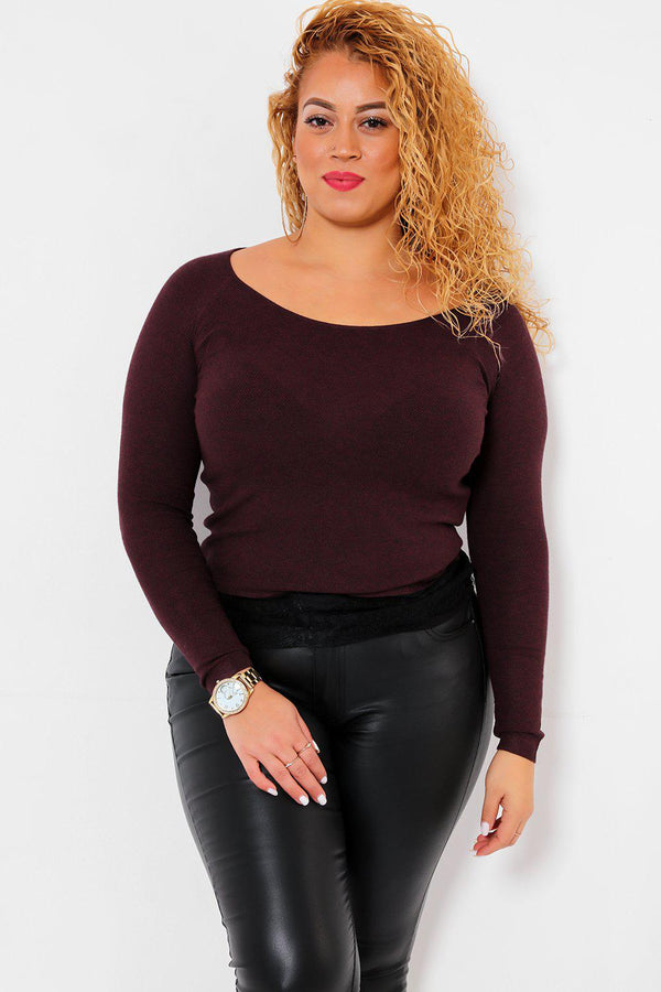 Eyelash Lace Trim Maroon Knitted Top-SinglePrice