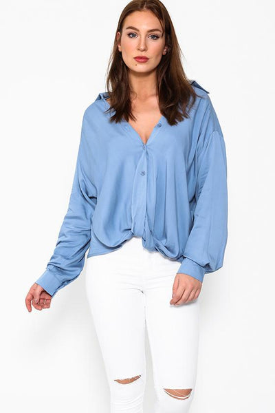 Blue Slouchy Twist Front Button Up Blouse-SinglePrice
