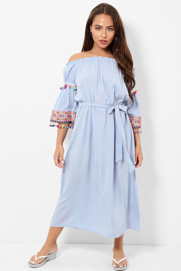 Blue Off Shoulder Tie Waist Pom Pom Detail Maxi Dress-SinglePrice