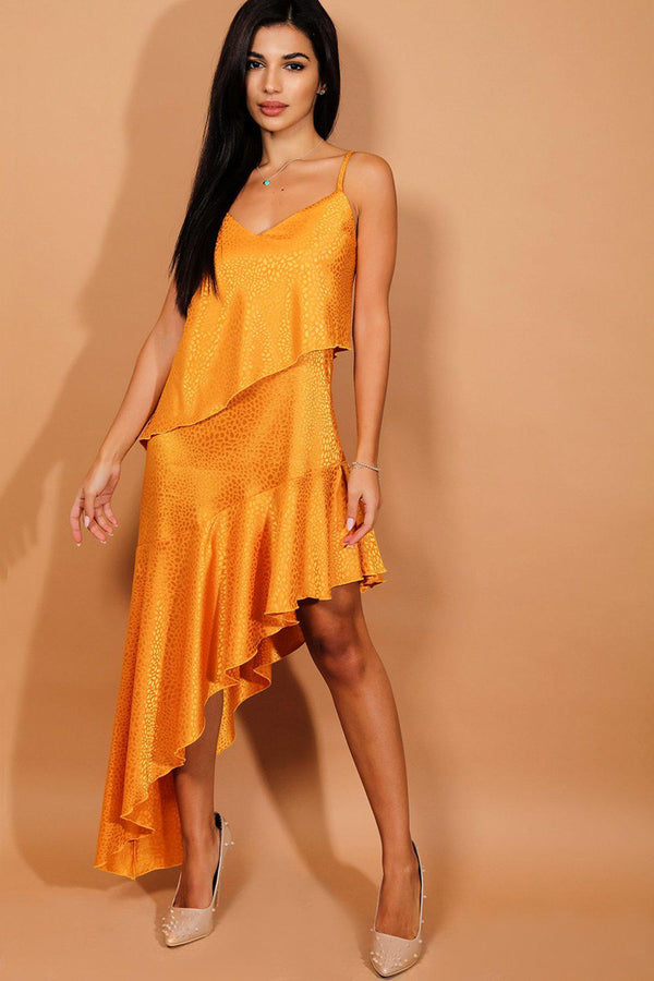 Mustard Textured Satin Asymmetric Hem Cami Dress-SinglePrice