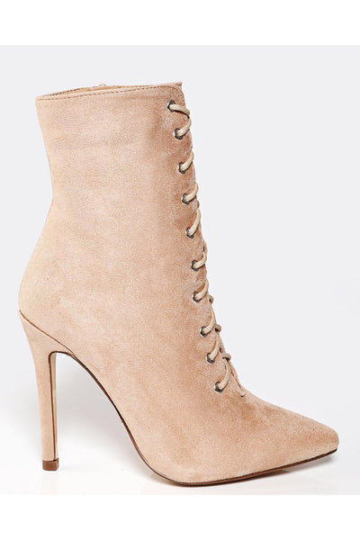 Beige Suede Tall Lace Up Ankle Boots-SinglePrice