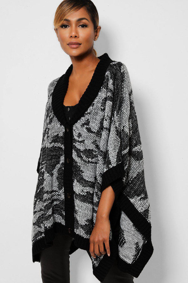 Black And White Monochrome Buttoned Front Poncho-SinglePrice