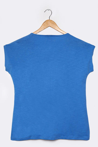 Perforated Details Cotton Blue T-Shirt-SinglePrice