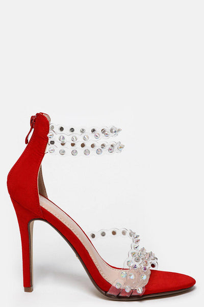 Perspex Straps With Unicorn Spikes Red Barely There Heels-SinglePrice