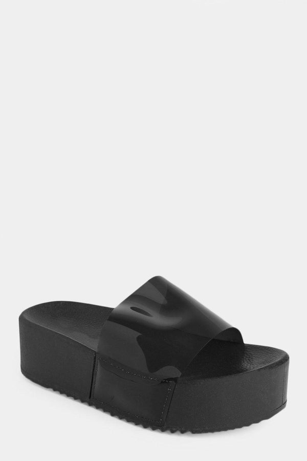 Black Perspex High Platform Sliders - SinglePrice