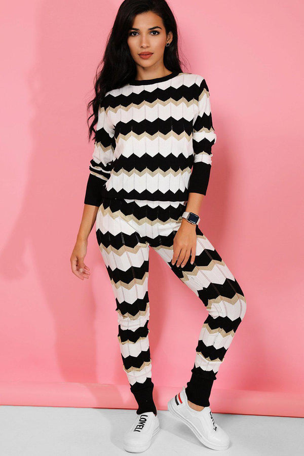 Black White Zig Zag Knit 2 Piece Lounge Set - SinglePrice