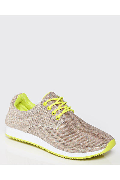 Golden Shimmer Neon Laces Trainers-SinglePrice