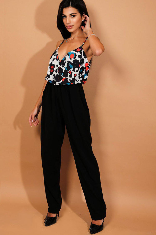 White Black Mixed Print Jumpsuit - SinglePrice