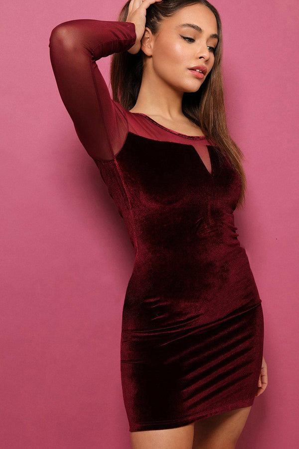Mesh Sleeves Wine Velvet Mini Dress