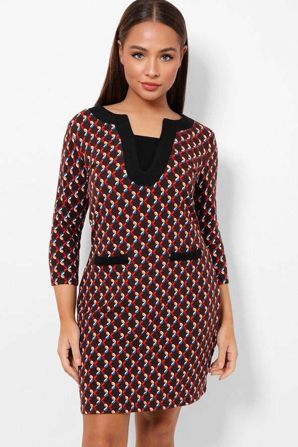 Geo Print Soft Fleece Touch Brown Mini Dress