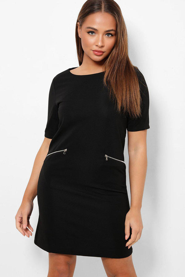 Black Two Front Zip Pockets Mini Shift Dress-SinglePrice