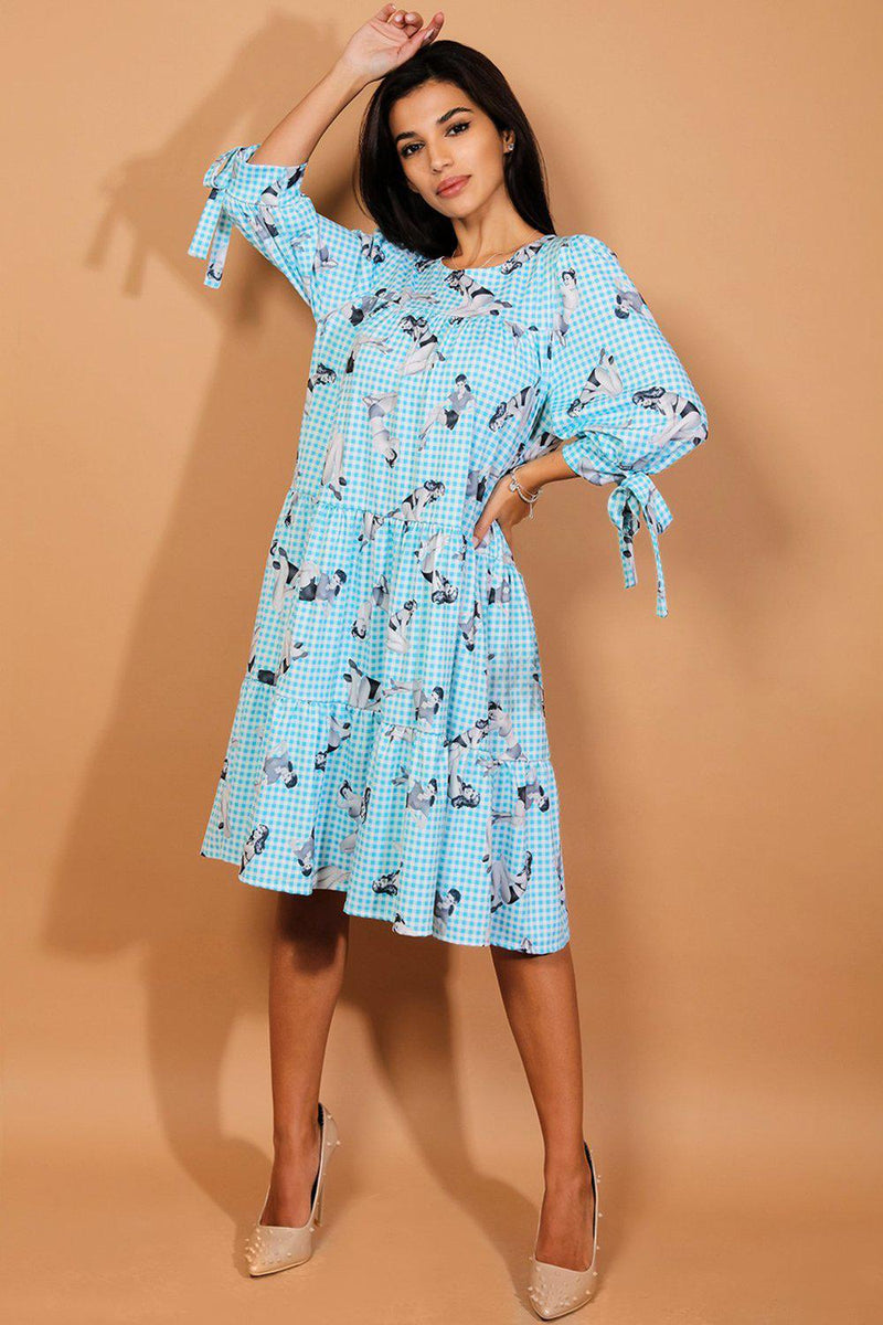 Blue Vintage Pin-up Girl Print Tiered Dress - SinglePrice