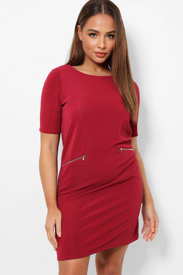 Wine Two Front Zip Pockets Mini Shift Dress-SinglePrice
