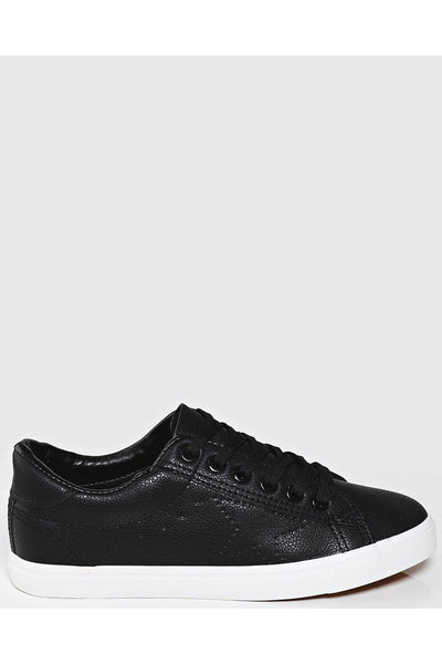 Black Perforated Star Low Trainers-SinglePrice