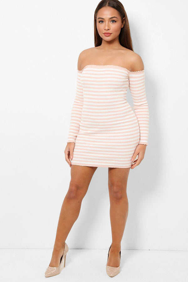 Pink White Stripes Off Shoulder Rib Knit Mini Dress-SinglePrice