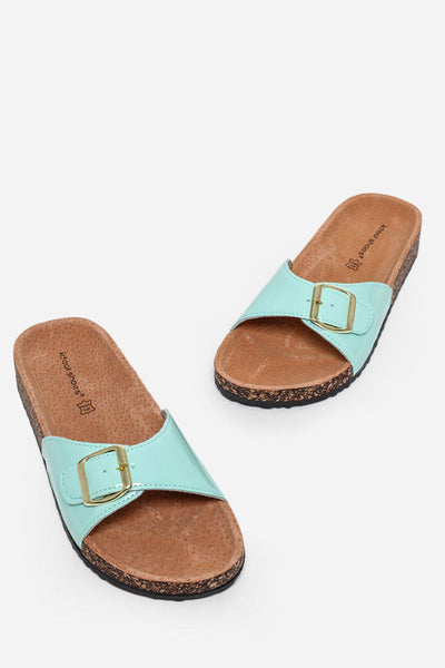 Light Green Patent Buckle Strap Cork Sliders-SinglePrice