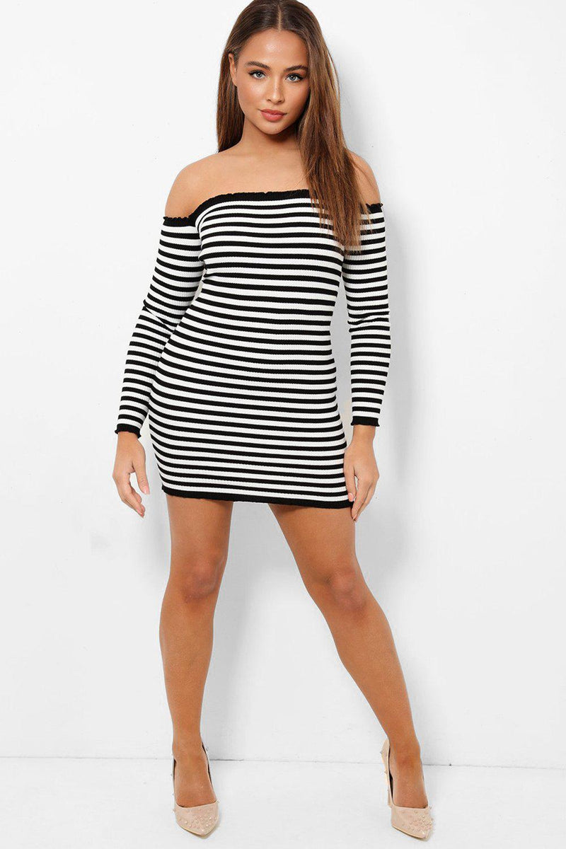 Black White Stripes Off Shoulder Rib Knit Mini Dress - SinglePrice
