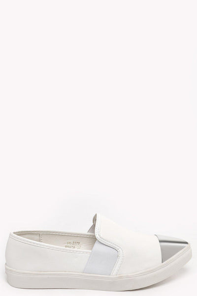 Silver Point Toe Cap White Plimsolls-SinglePrice