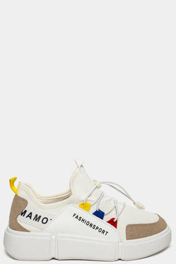 White Fashion Stripe Colourblock Chunky Trainers - SinglePrice