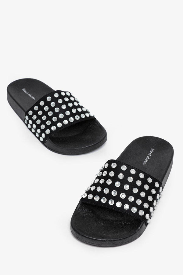 Large Crystals Embellished Black Sliders-SinglePrice