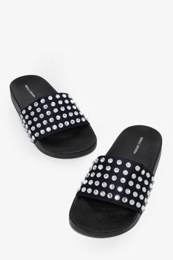 Large Crystals Embellished Dark Navy Sliders - SinglePrice
