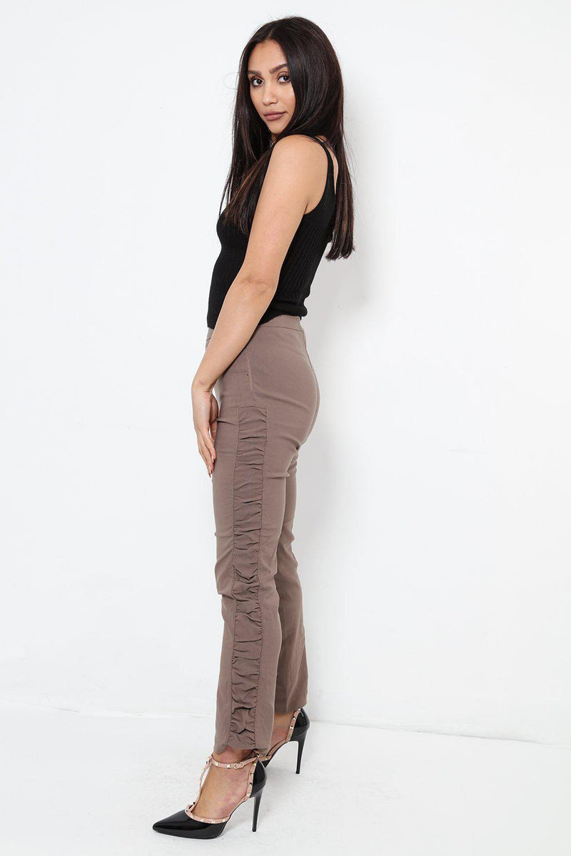 Ruched Sides Stretchy Brown Trousers - SinglePrice