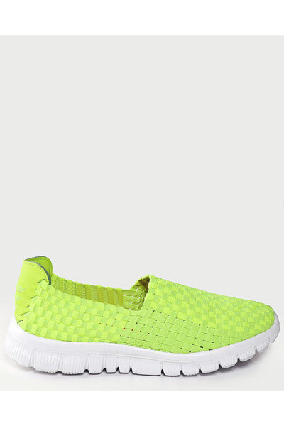 Lime Yellow Woven Elastic Light Runner Trainers-SinglePrice