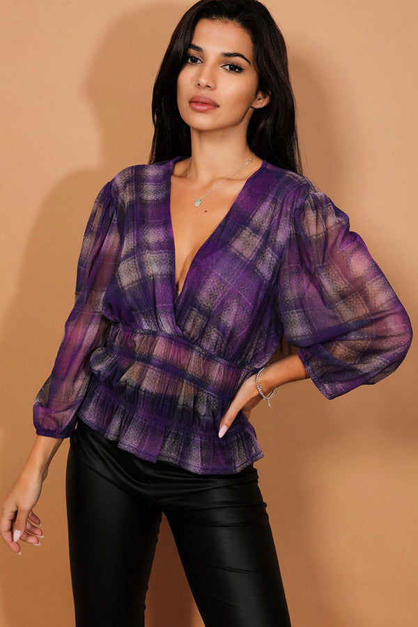 Purple Check Print Semi Sheer Shirred Blouse - SinglePrice