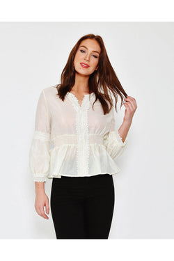 Cream Puff Sleeves Romantic Sheer Blouse-SinglePrice