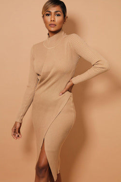 Beige Front Split High Neck Knitted Dress - SinglePrice