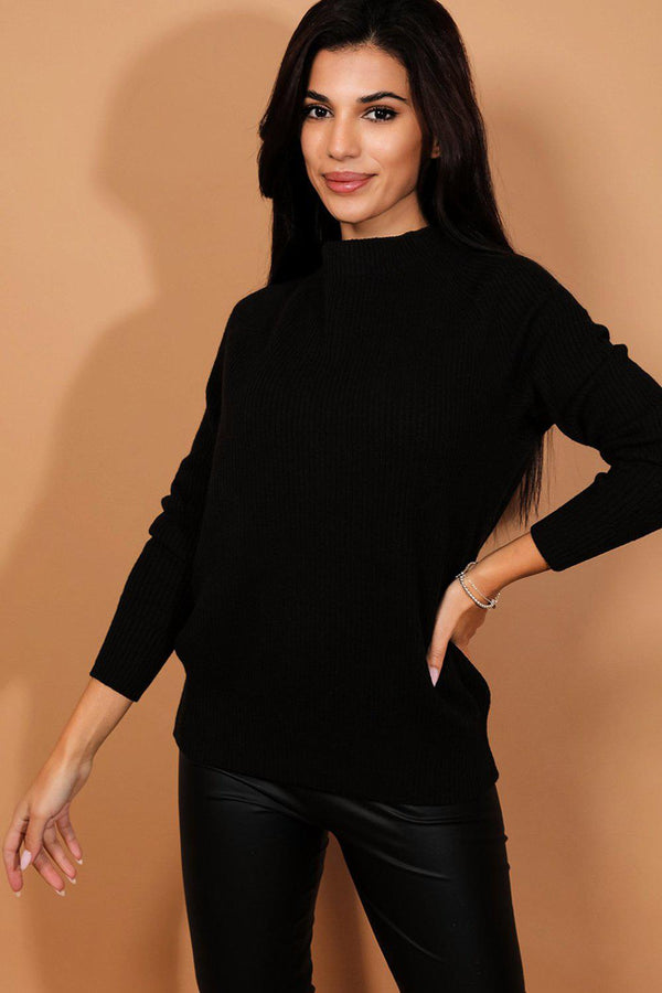 Black Open Bow Back Rib Knit Pullover
