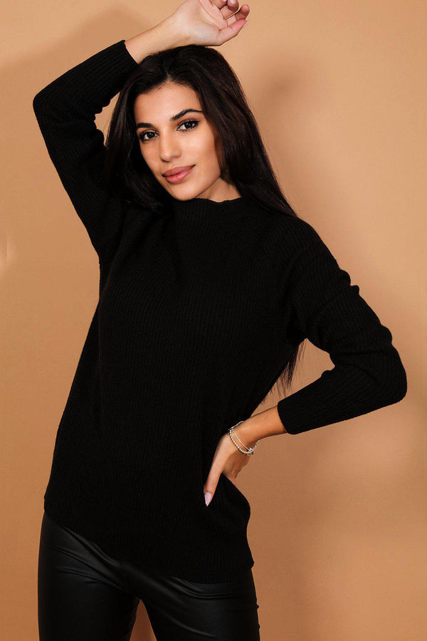Black Open Bow Back Rib Knit Pullover-SinglePrice
