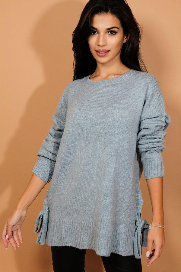 Aqua Blue Lace Up Side Detail Soft Knit Pullover-SinglePrice