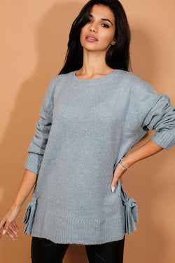 Aqua Blue Lace Up Side Detail Soft Knit Pullover - SinglePrice