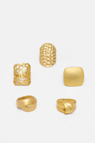 Set Of 5 Mixed Gold Rings-SinglePrice