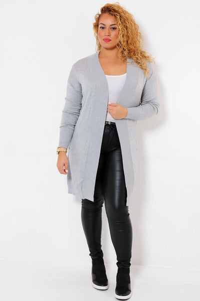 Figure-Hugging Ribbed Hem Open Grey Cardigan-SinglePrice