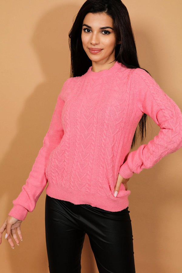 Pink Cable Knit Keyhole Bow Back Pullover - SinglePrice